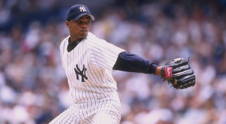 The Yankees' Orlando Hernandez pitches against the Baltimore Orioles on July 4, 1998, at Yankee Stadium.