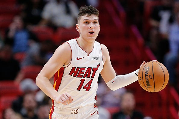 Tyler Herro brings the ball up for the Heat.
