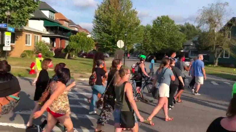 Protesters in support of Black Lives Matter walk in Buffalo. September 1, 2020 (WBEN Photo/Brendan Keany)