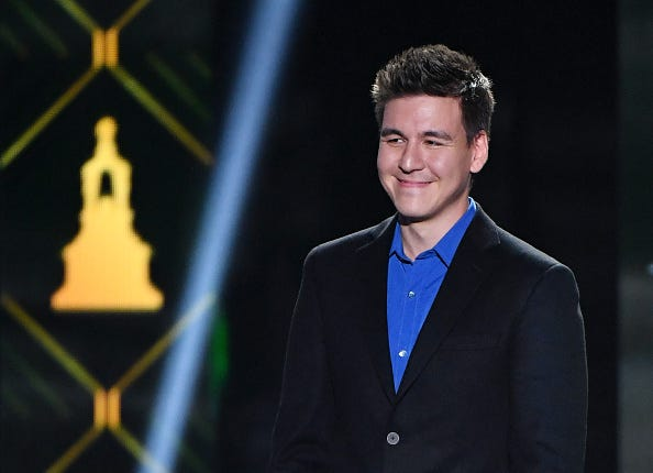 James Holzhauer smiles at the 2019 NHL Awards.