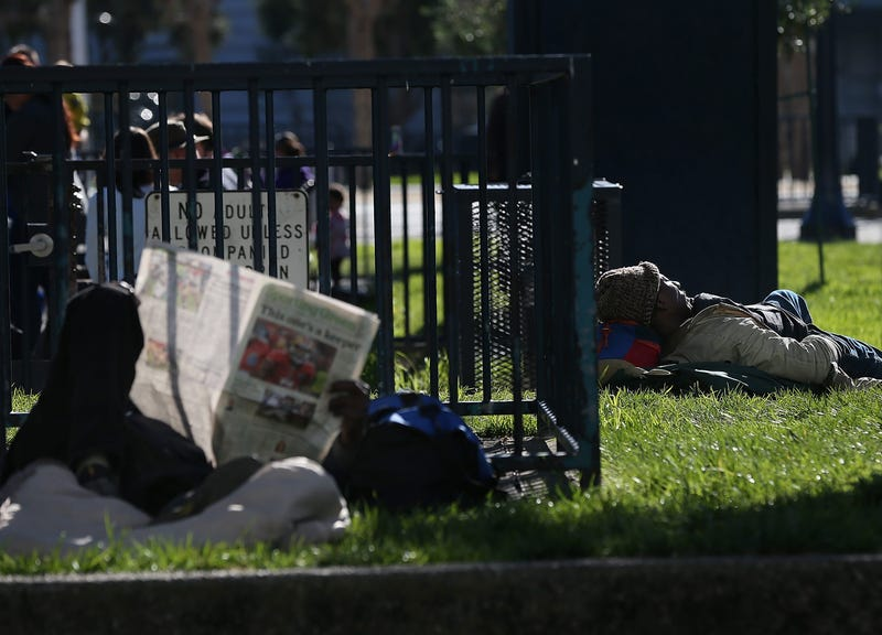 A homeless man sleeps in the park on December 10, 2012 in San Francisco, California.