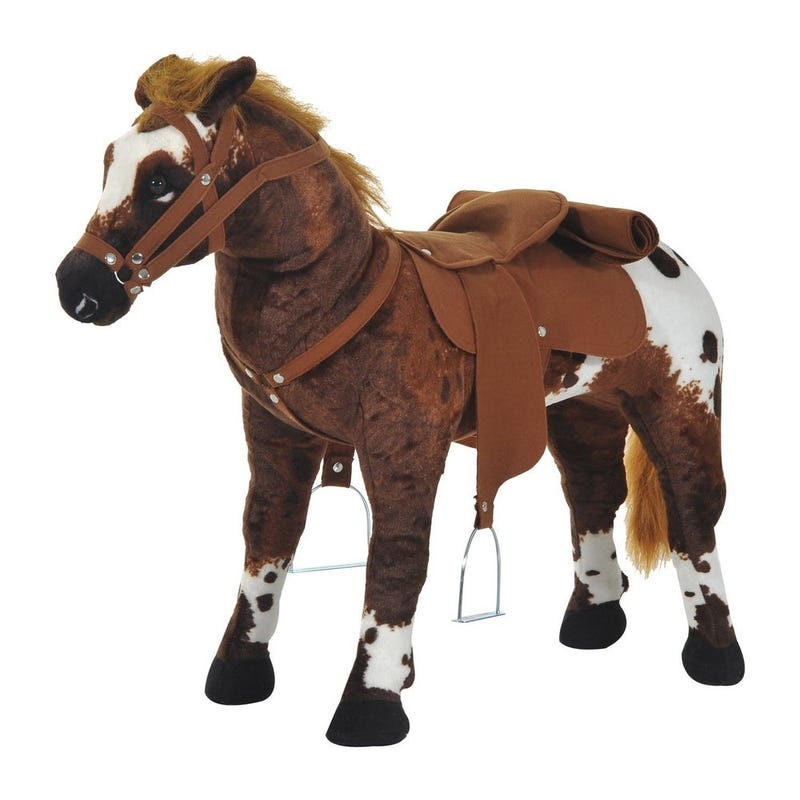 Qaba Children's Plush Interactive Standing Ride-On Horse Toy