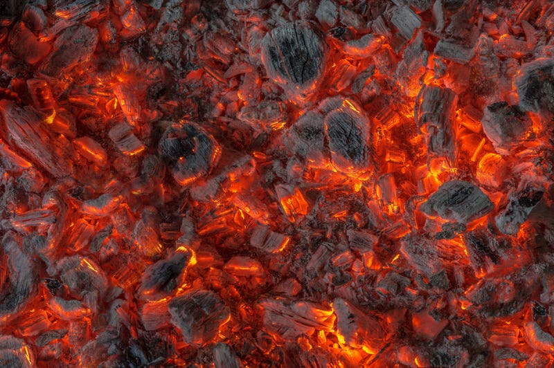 Hot charcoal in a grill