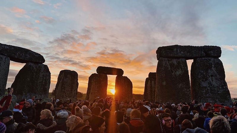 On the shortest day of the year, 5,000 people gathered at Stonehenge to celebrate the winter solstice Sunday.