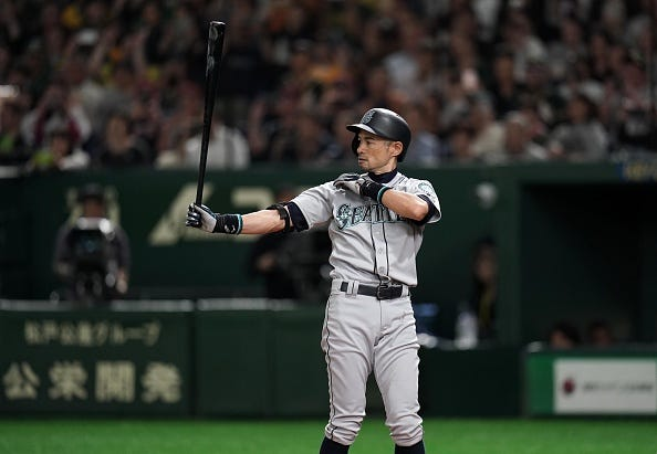 Ichiro steps into the batter's box for the Seattle Mariners.