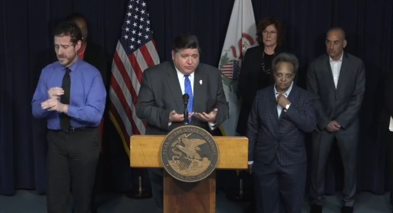Governor JB Pritzker takes questions at a March 15, 2020 news conference