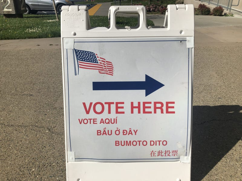 A sign for voters outside of a California polling location.