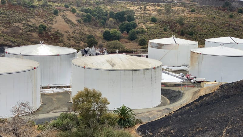 Two fuel storage tanks were destroyed by an explosion and fire in Crockett.