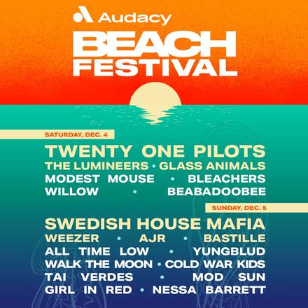 Florida Audacy Beach Festival Lineup, including Swedish House Mafia