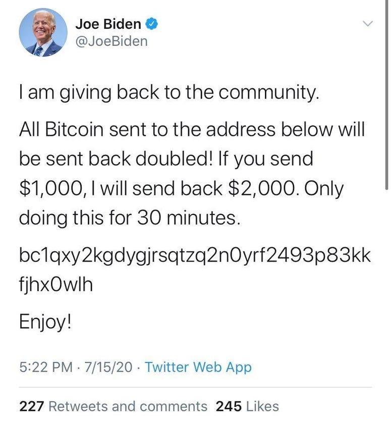 Joe Biden Hacked Tweet