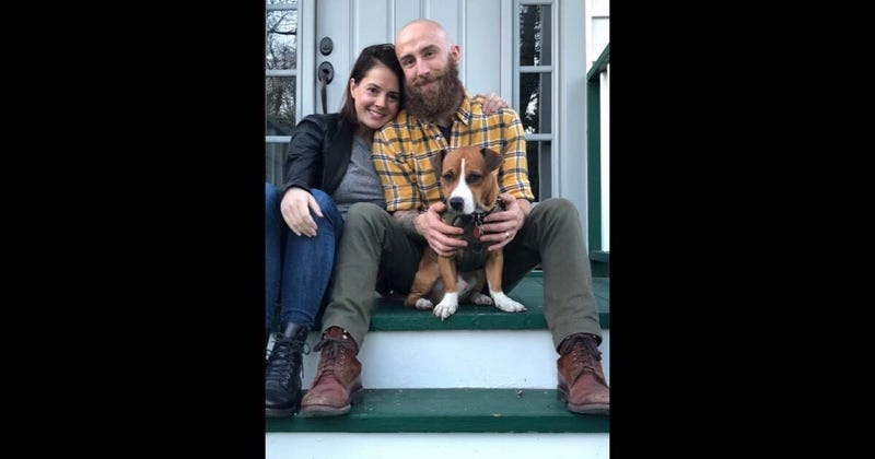 Kris Goldsmith, Lauren Katzenberg and their dog, Frosting.