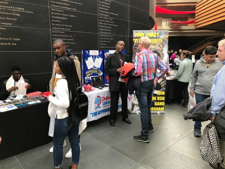 Nearly 400 students from all over the region explored tables at the Kimmel Center with information for roughly 50 college music programs from 18 states.
