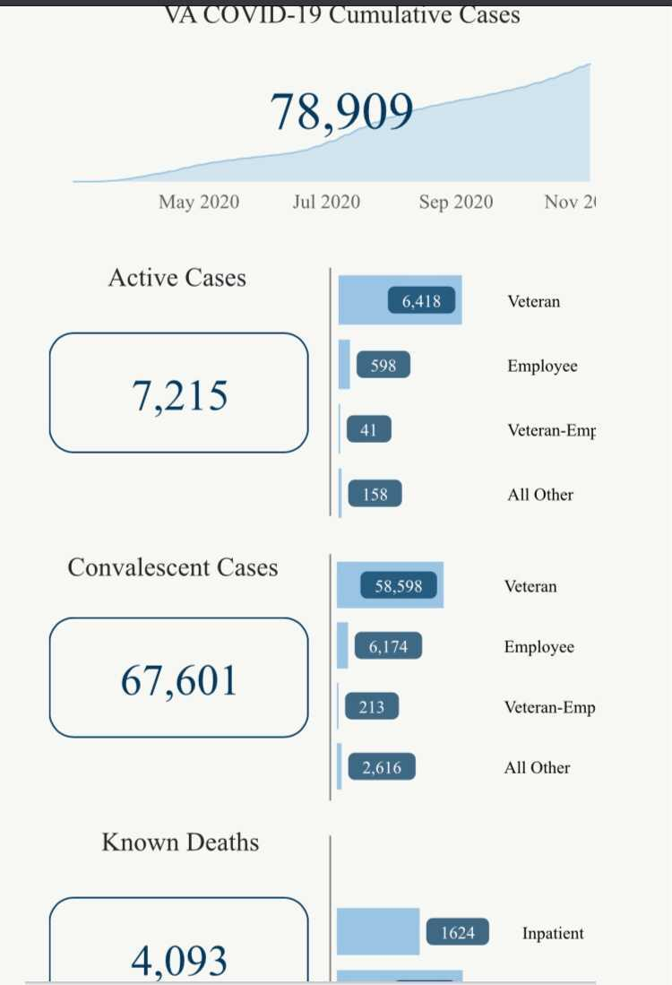 Department of Veterans Affairs COVID-19 data as of early Nov. 5, 2020.