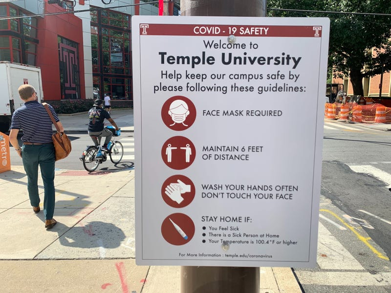COVID-19 guidelines posted at Temple University