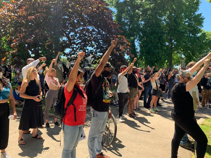Hundreds of demonstrators gathered in West Philadelphia's Malcolm X Park to rally against police funding and to abolish private police departments.