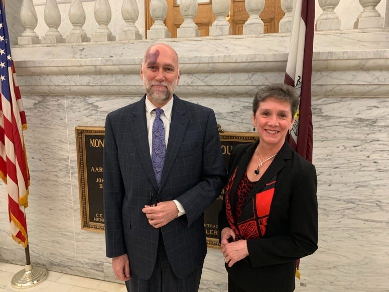 Greg Nester, chief of mental health in the Montgomery County Public Defender's Office, with Cara McMenamin with DA's office.