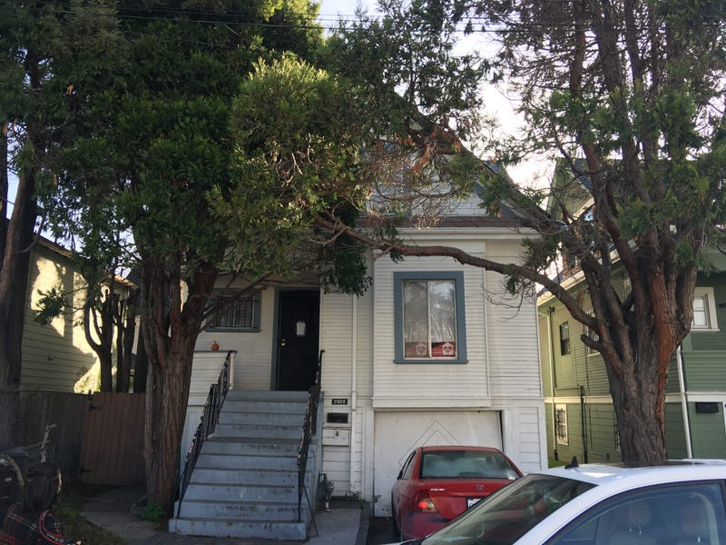 Two homeless mothers have been living in this home in West Oakland, although the investment group that owns the property is trying to evict them.