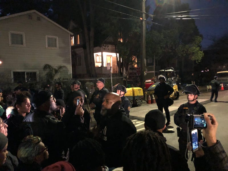 Scene outside West Oakland home where eviction order was served January 14, 2020