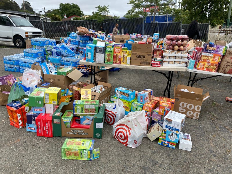 An overflow of supplies for protesters at a collection spot in Oakland.
