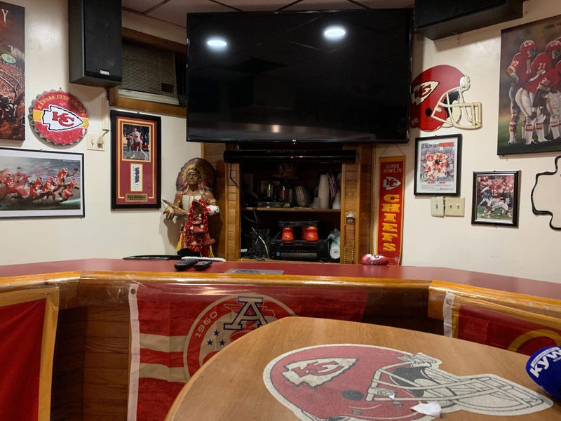 Big Charlie's Saloon in South Philadelphia is packed with Kansas City Chiefs memorabilia.