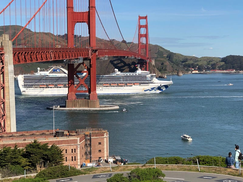 The Grand Princess cruise ship pulled into San Francisco Bay on March 9, 2020 carrying at least 21 people who are infected with COVID-19.