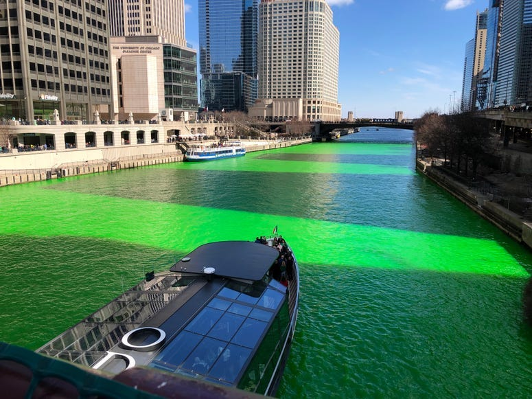 Chicago's (EXTREMELY) Green River for St. Patrick's Day 2019