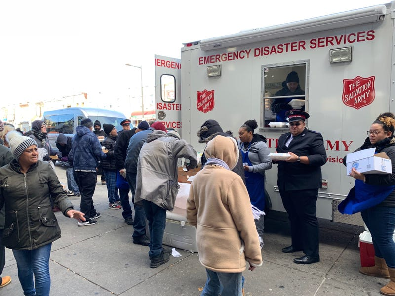 The Salvation Army gave out 250 hot meals in about a half hour on Thanksgiving in Kensington.