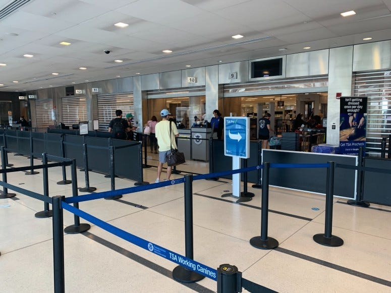 TSA line at Philadelphia International Airport