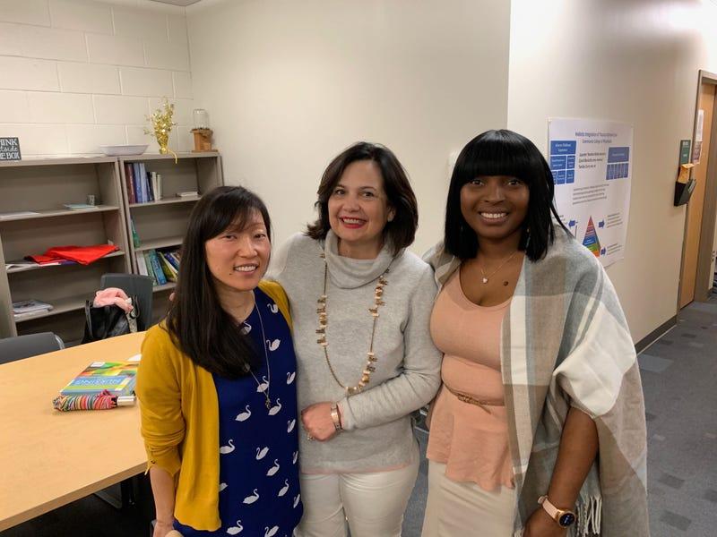(L-R) Student Kelley Satterfield, CCP nursing chair Laureen Tavolardo-Ryley, and student Nadia Lighty.