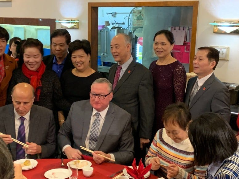 Philadelphia Mayor Kim Kenney stopped by Ocean Harbor to show solidarity with Chinatown businesses.