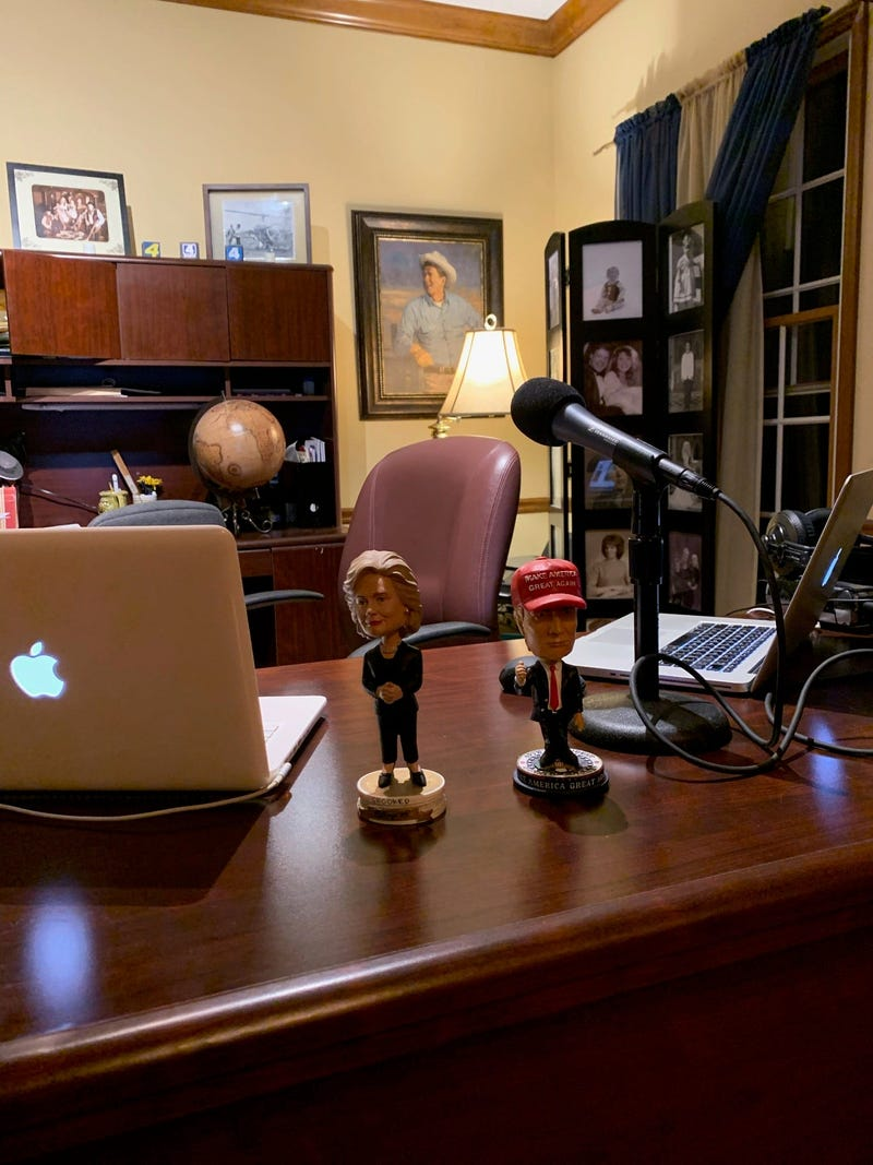 Marc broadcasting from his home office