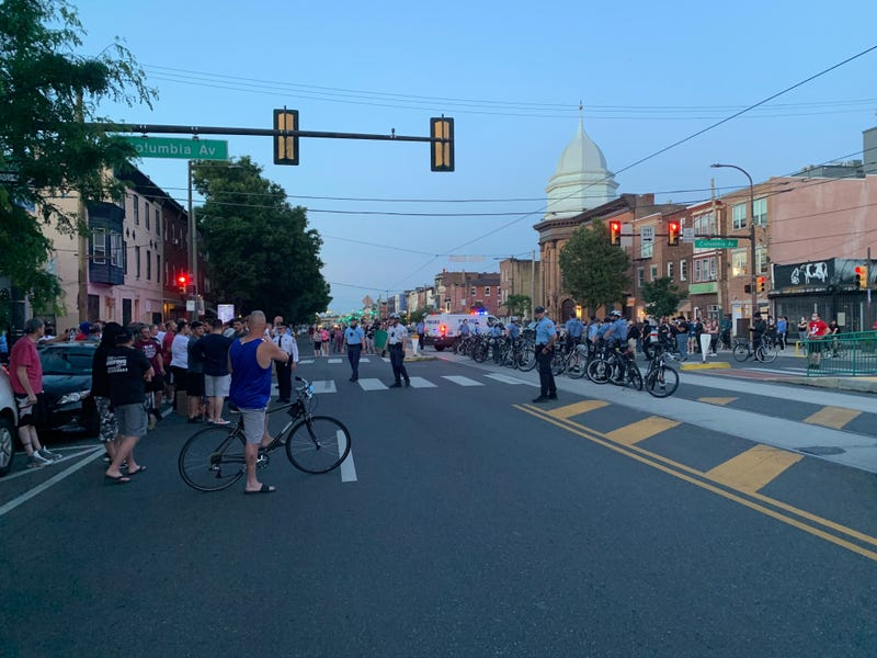 Black Lives Matter protesters with counter-protesters on June 1 in Fishtown
