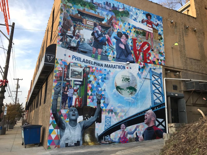A new mural on Main Street in Manayunk, created by artist Kala Hagopian, pays tribute to both the Philadelphia Marathon and the city itself.
