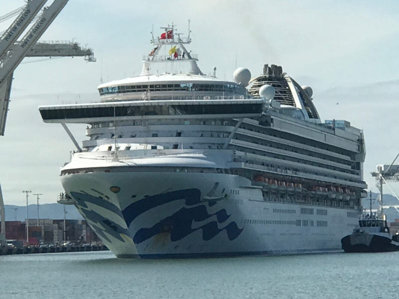 The Grand Princess cruise traveled through the San Francisco Bay on March 9 to dock in the Port of Oakland carrying crew and passengers who'd been infected with the coronavirus.