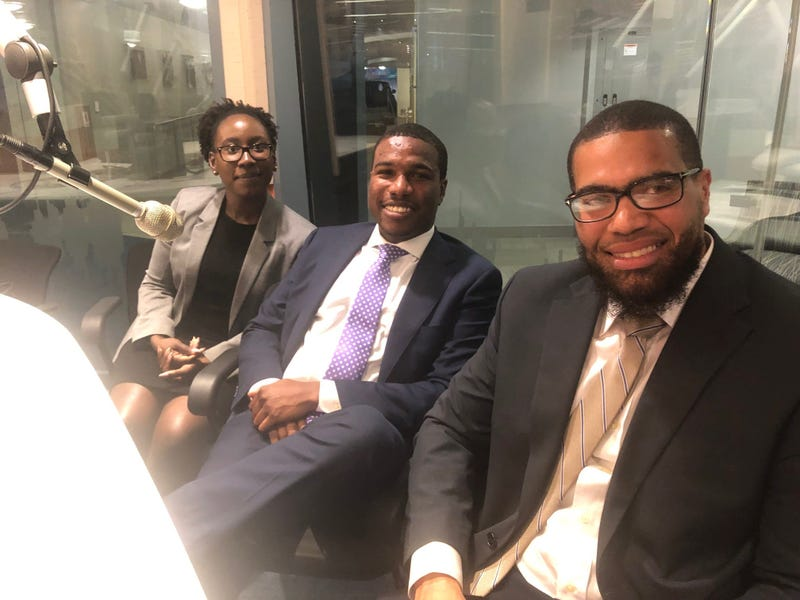 Terrance Lewis (R) with attorneys Kevin Harden and Shari Maynard.