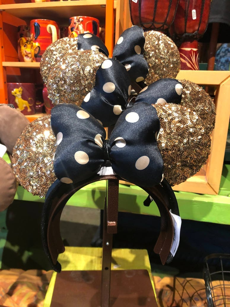 Minnie Mouse Gold/Navy Polka Dot Ears