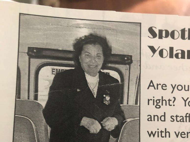 Yolanda Imbriano on the bus
