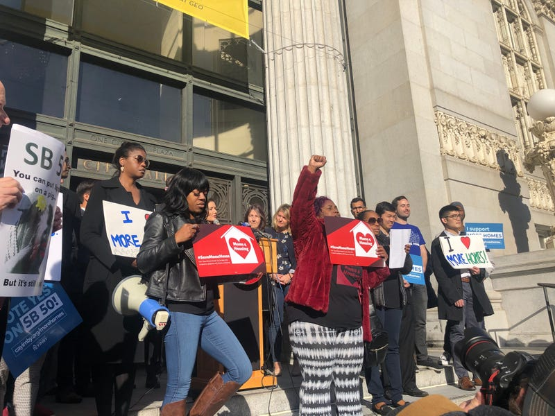 Protestors from Moms 4 Housing interrupted a press conference on Jan. 7, 2020about state Sen. Scott Wiener's proposal to foster the construction of affordable housing near transit hubs.