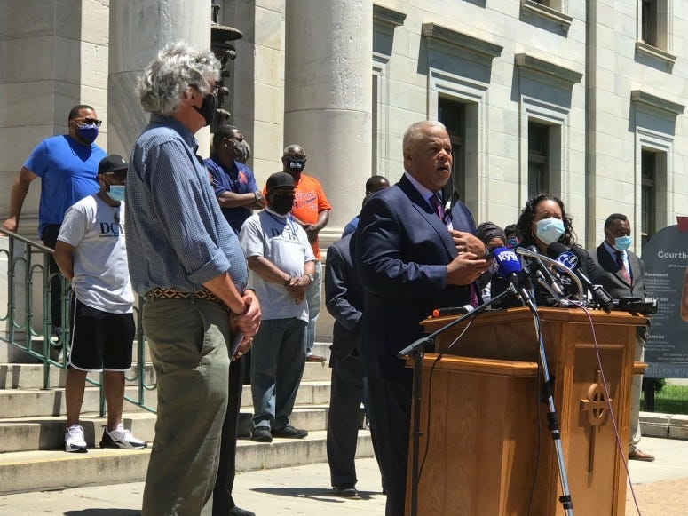 State Sen. Anthony Williams outside the courthouse in Media