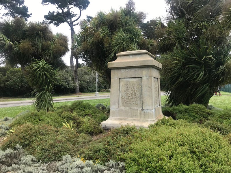 The empty pedestal where a statue of Junipero Serra once stood in Golden Gate Park.