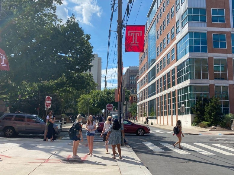 Students on Temple University campus