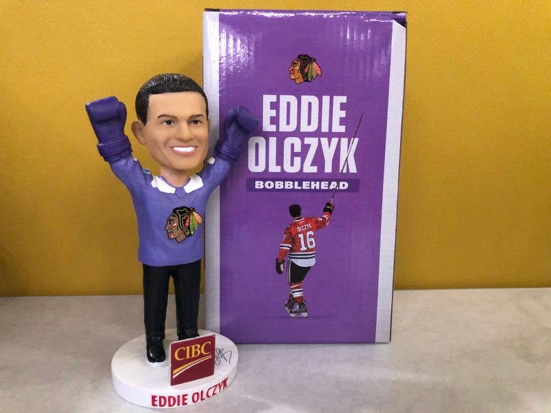 """Hockey Fights Cancer"" Eddie Olczyk bobblehead"