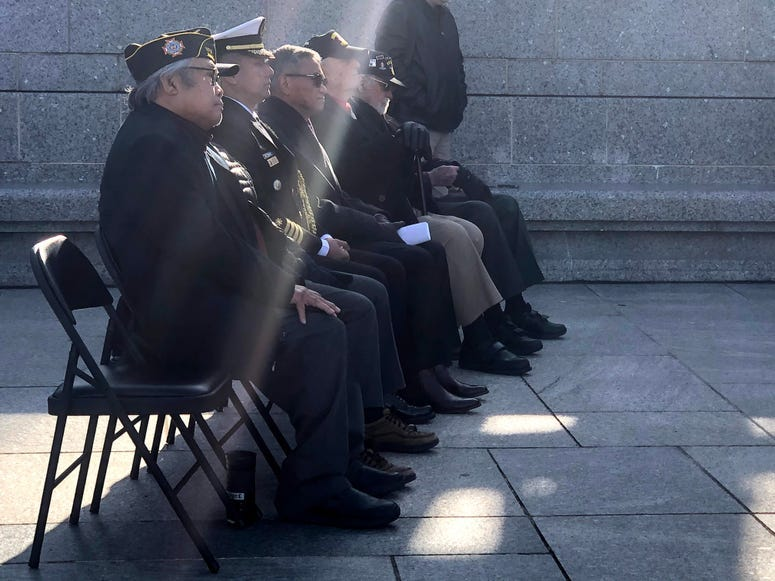 World War II veterans, military attachés from Australia and the Philippines, and civilians laid wreaths at the National World War II Memorial in Washington as part of an event commemorating the 75th anniversary of the Battle of Luzon, Jan. 9, 2020.