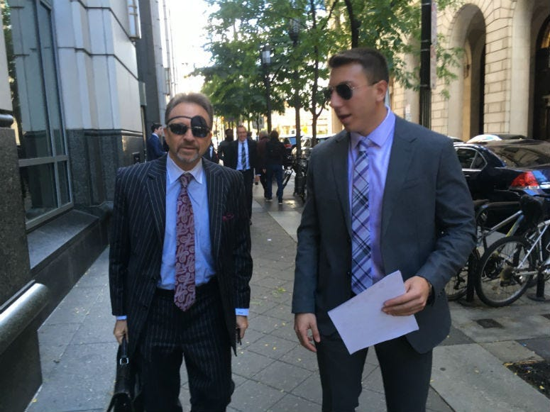 Defense lawyer Perry de Marco, Sr and Ari Goldstein outside the Criminal Justice Center
