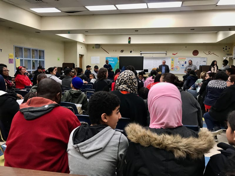 Dozens of parents, staff, students, and community members attended a meeting on the state of Laura H. Carnell Elementary School in Northeast Philadelphia, amid asbestos concerns.