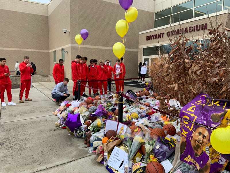 Growing Kobe Bryant memorial outside of Lower Merion High School.