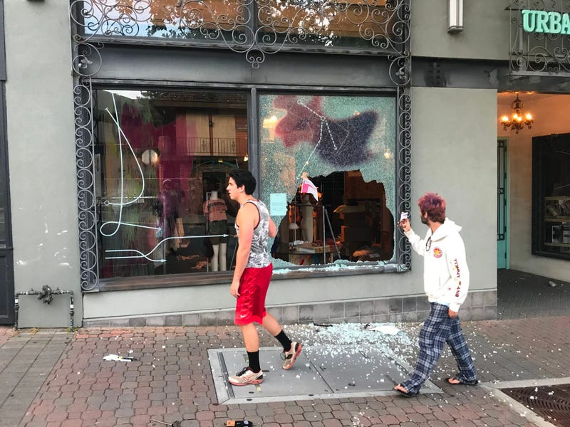 Smashed glass after looting in downtown Walnut Creek.