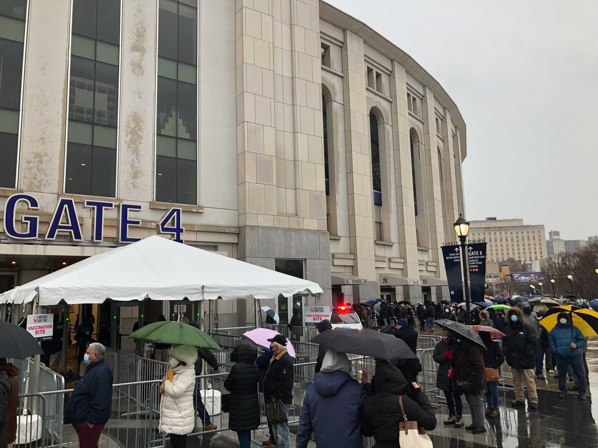 Bronx residents line up at Yankee Stadium as mass vaccination site opens