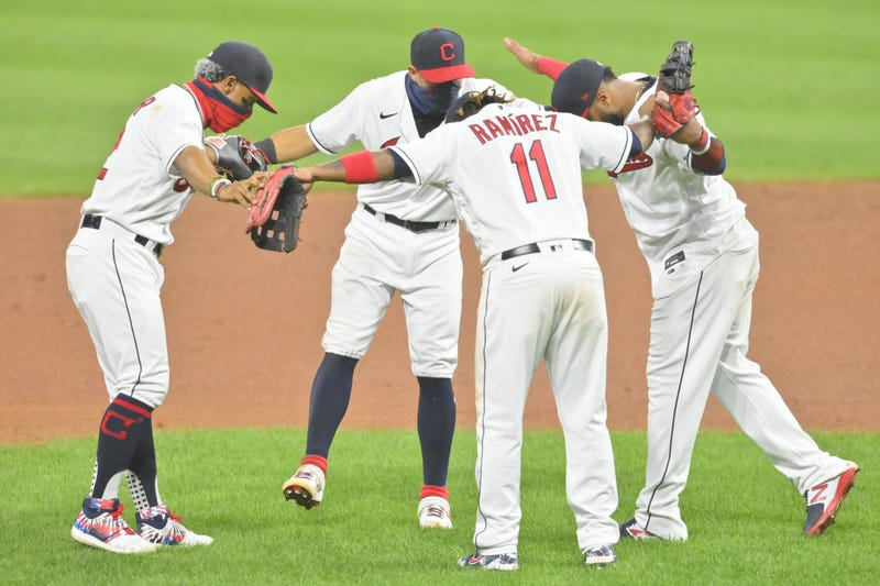 The Cleveland Indians celebrate a win over the Minnesota Twins at Progressive Field.