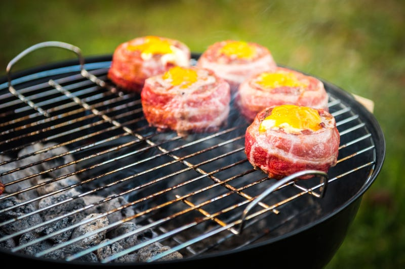 burgers grilling over indirect heat